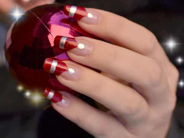 Red Nails with Gold Stripes and Gold Dots
