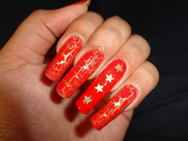 Long Red Nails with Gold Cracked Design and Gold Stars
