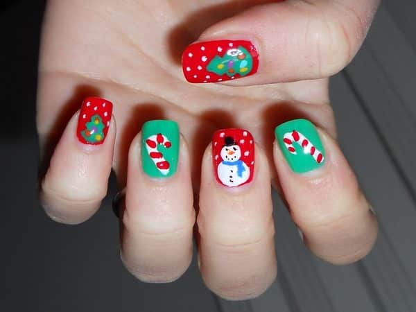 Red and Green Nails with Candy Canes, Snowmen, and Christmas Trees
