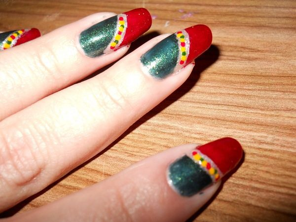 Half Red Half Green Nails with Gold and Silver Stripe with Red and Green Dots