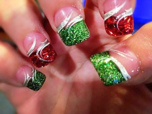 Plain Nails with Red and Green Tips and Silver Swirls