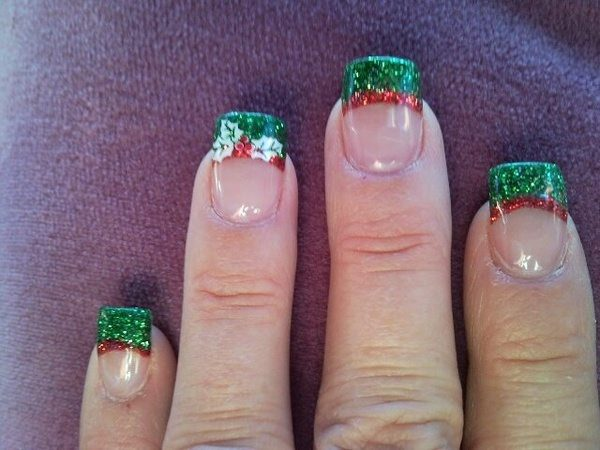 Red and Green Nail Tips with Holly