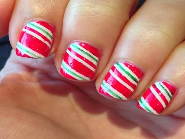 Red, White and Green Striped Nails
