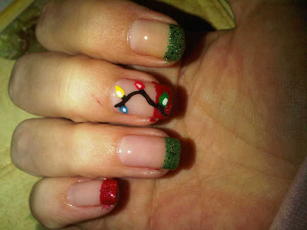 Red and Green Nail Tips with Christmas Lights Decorations