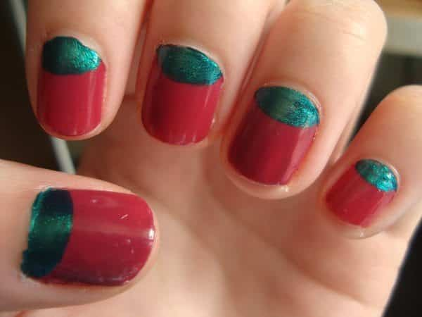 Red Nails with Green Glitter Cuticles