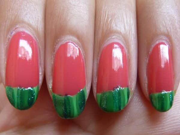 Red Nails with Green Watermelon Designs