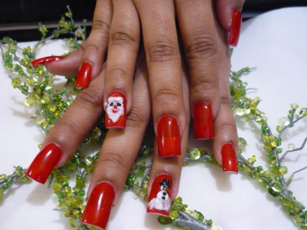 Red Nails with Santa Claus Designs
