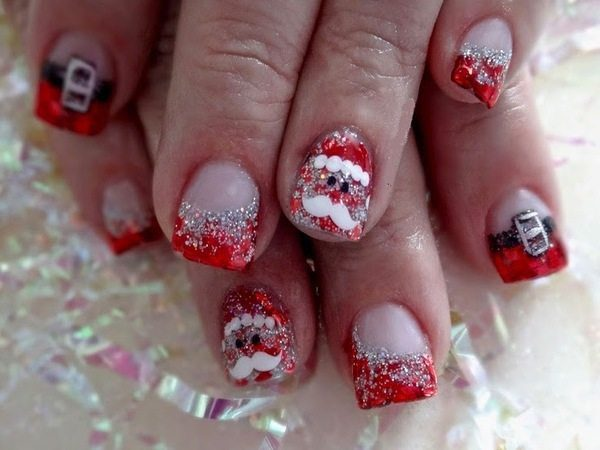 Plain Nails with Red Glitter Tips, Santa Claus Decorations, and Santa Claus' Outfit