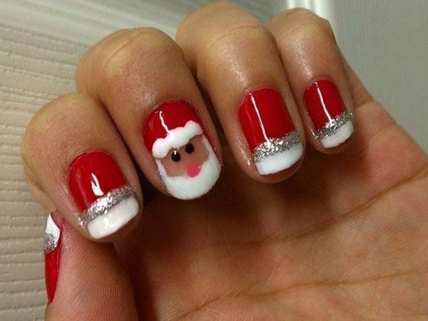 Red Nails with Santa Claus and Silver and White Striped Glitter Tips