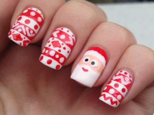 Santa Claus Nails with Red Striped Sweater Design Nails
