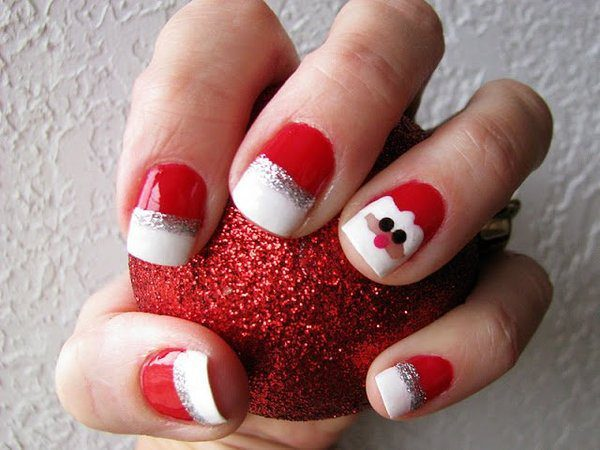 Santa Claus Nail with Red, White, and Silver Nails