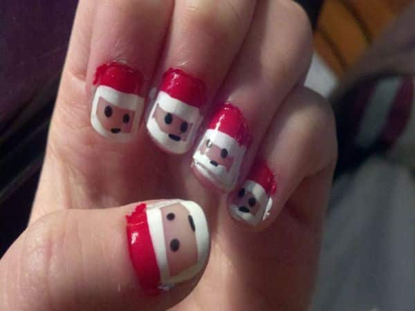 Santa Claus with Red Hat Nails