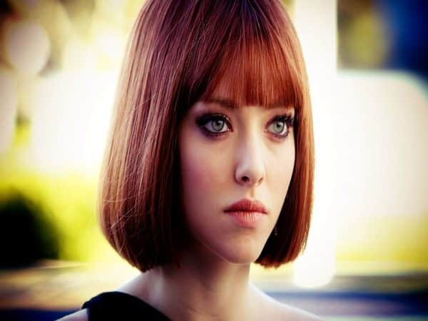 Amanda Seyfried Dark Red Bob Hairstyle