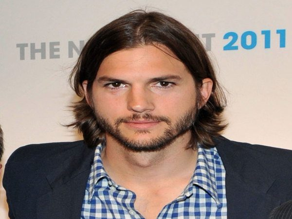 Ashton Kutcher Grown Out Dark Hair Parted In the Middle