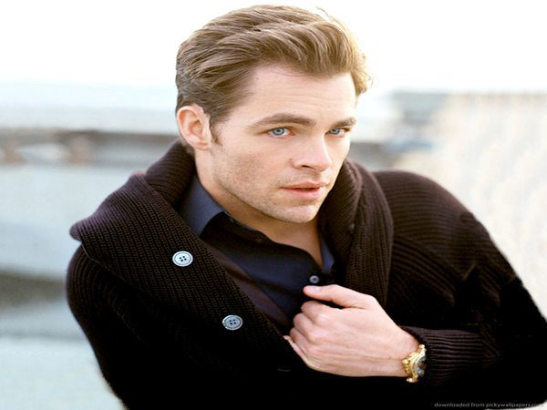 Chris Pine Grown Out Hair Combed Back