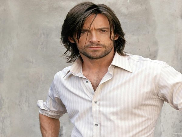 Hugh Jackman Long Brown Hair with Feathered Sides