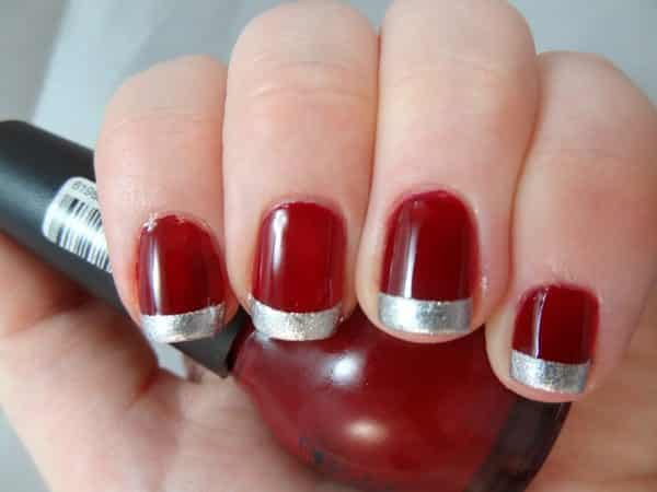 Blood Red with Metallic Silver Tips