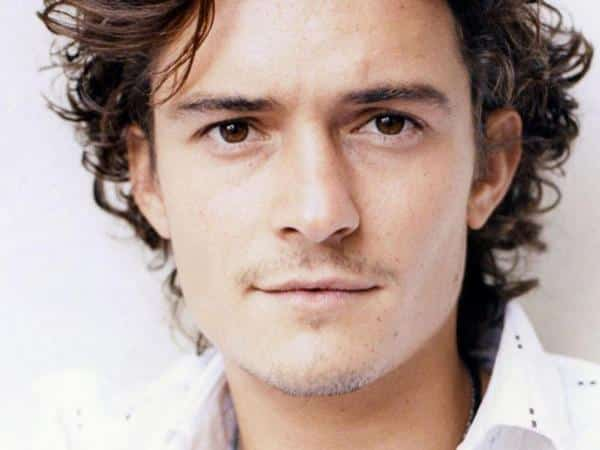 Orlando Bloom Curly Hair with Middle Parted Bangs