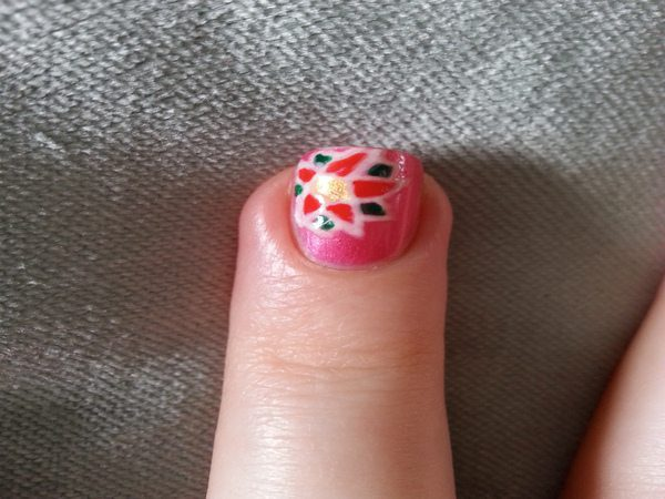 Pink Nails with Poinsettia Flower
