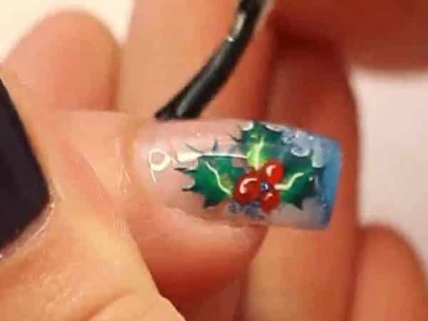 Poinsettia Flower Nail with Blue Tip
