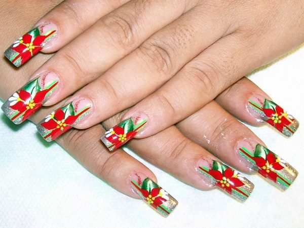 Plain Nails with Silver Tips and Poinsettia Flowers