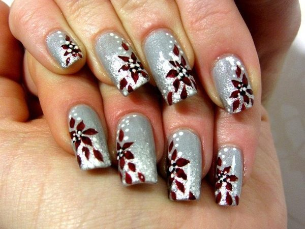 Silver Nails with Poinsettia Flowers