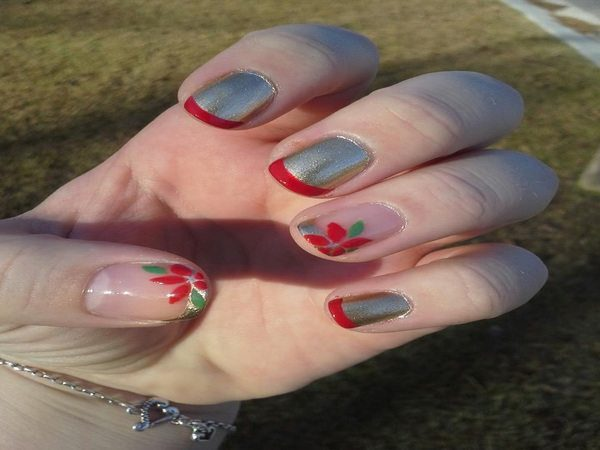 Silver Nails with Red Tips and Poinsettia Flowers