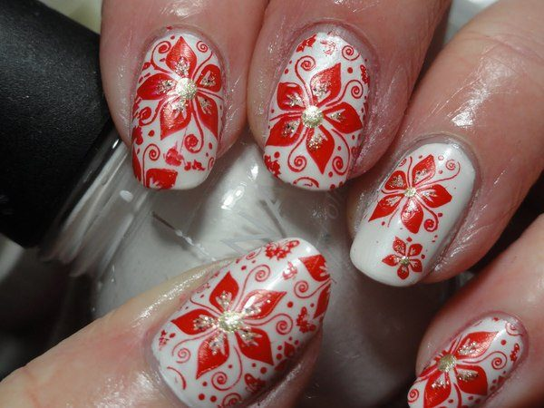 White Nails with Poinsettia Flowers