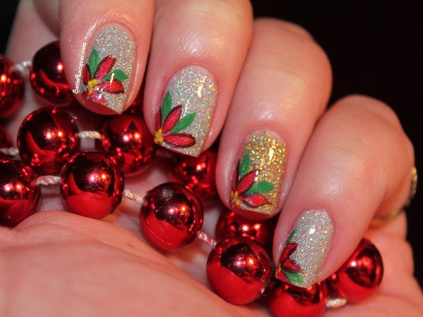 Silver Nails with One Gold Nail and Poinsettia Flower Tips