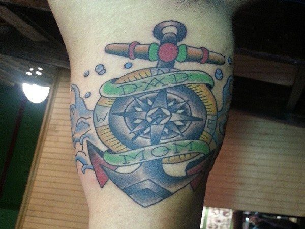 Anchor Tattoo with Mom and Dad Banners
