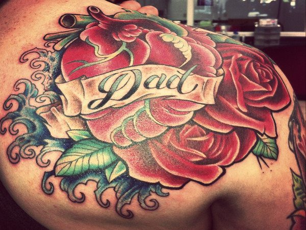 Dad Tattoo with Banner and Roses