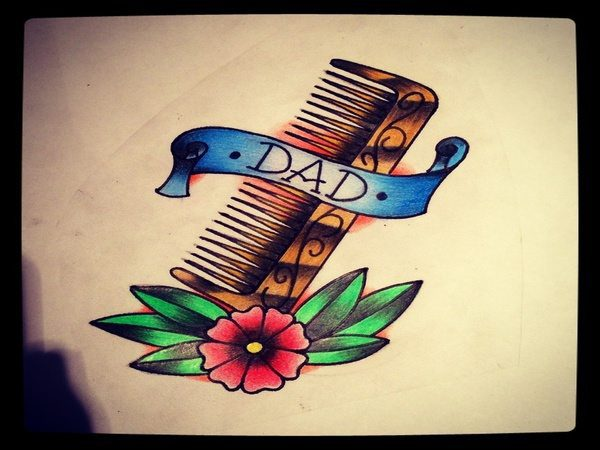 Dad Tattoo with Comb, Flower and Banner