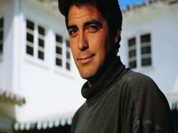 Young George Clooney with Dark Feathered Hair