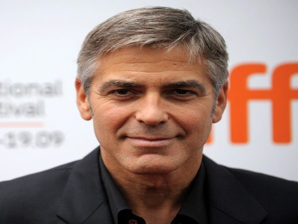 George Clooney Grown Out Side Parted Grey Hair