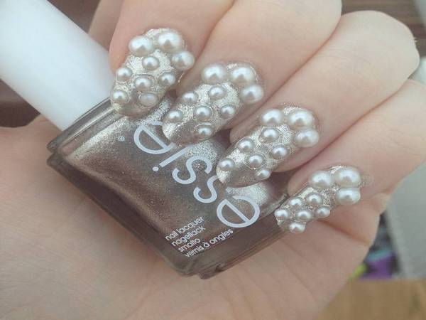 White Nails with Pearls