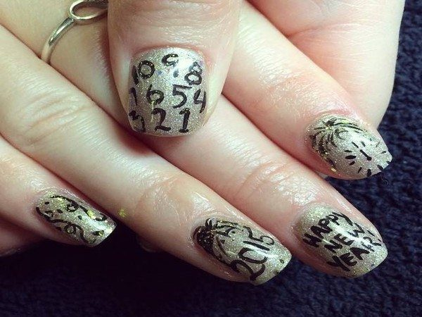 Gold Countdown to New Year's Decorated Nails