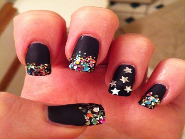 Black Matte Nails with Confetti and Gold Stars