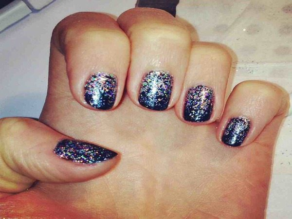 Black Nails with Rainbow Glitter