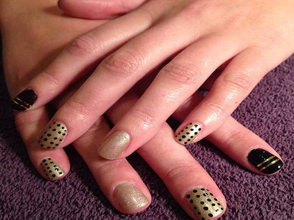 Black and Gold Nails with Gold Lines and Black Dots