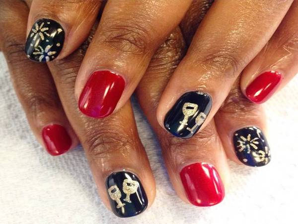 Black and Red Nails with Gold Champagne Glasses and Fireworks