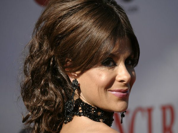 Paula Abdul Curly Long Hair with Middle Parted Updo