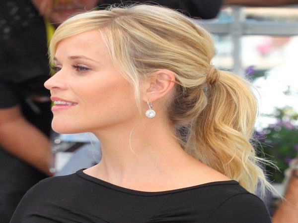Reese Witherspoon Blond Pony Tail with Side Parted Bangs
