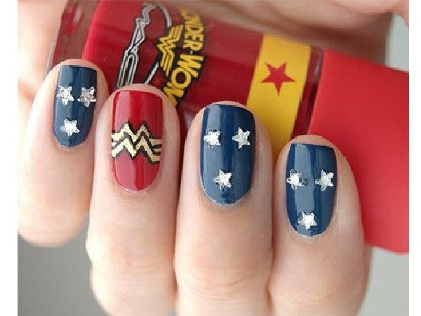 Blue Wonder Woman Nails with Stars and One Red Nail with Wonder Woman Symbol