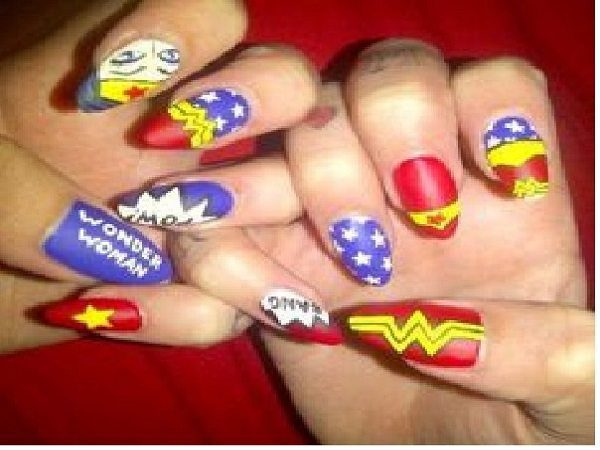 Wonder Woman Decorated Nails on Red and Blue Nails