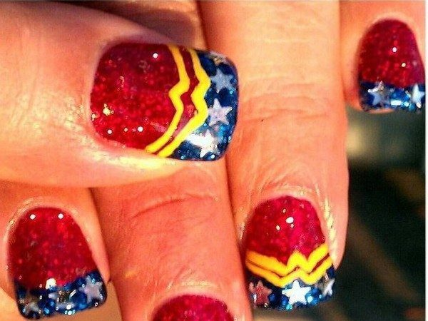 Red Glitter Nails with the Wonder Woman Symbol, Blue Tips, and Silver Stars
