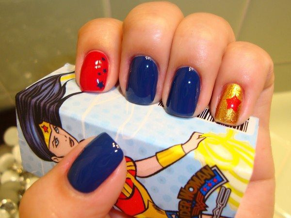 Blue Nails, One Red Nail, and One Gold Nail with the Red Star