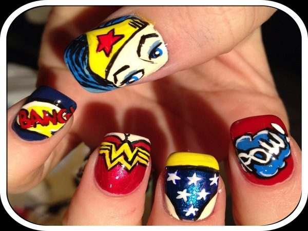 Wonder Woman Decorated Nails