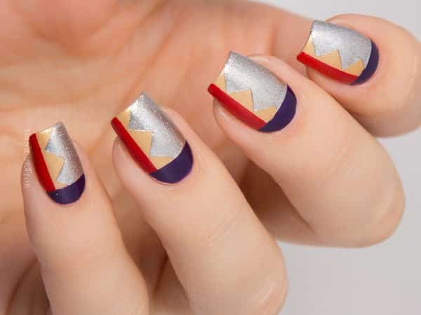 Blue, Red, Gold, and Silver Wonder Woman Nails