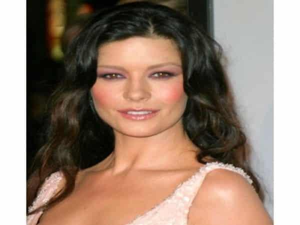 Catherine Zeta-Jones Dark Brown Hair Curly Hair with Light Brown Streaks