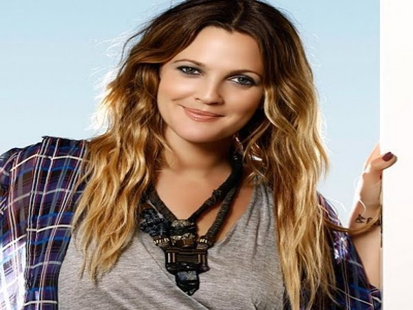 Drew Barrymore Long Wavy Dark Hair with Blond Ends